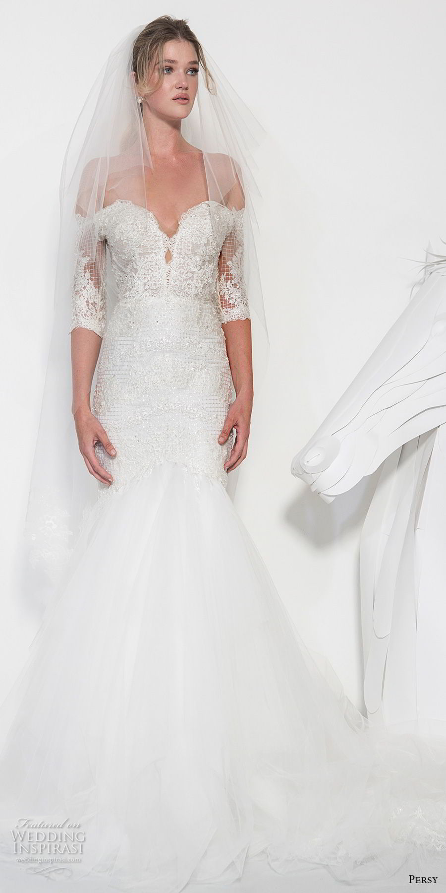 persy couture 2019 bridal half sleeves off the shoulder sweetheart neckline heavily embellished bodice romantic mermaid wedding dress chapel train (1) mv