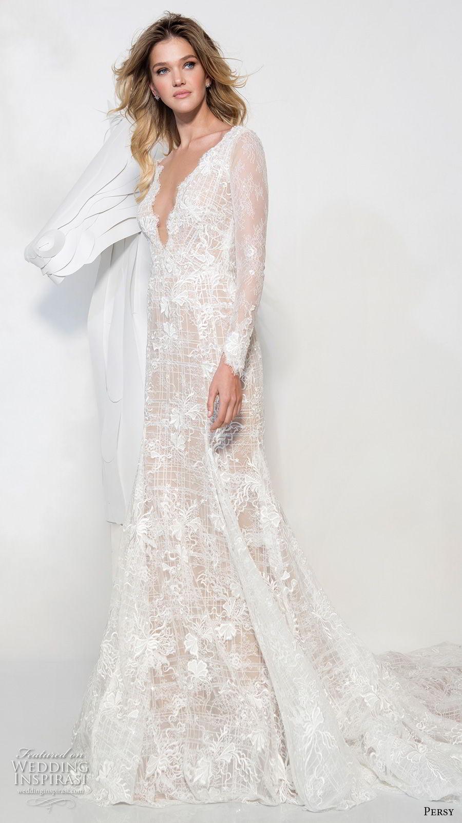 persy couture 2019 bridal long sleeves deep v neck full embellishment sexy elegant modified a line wedding dress chapel train (4) mv