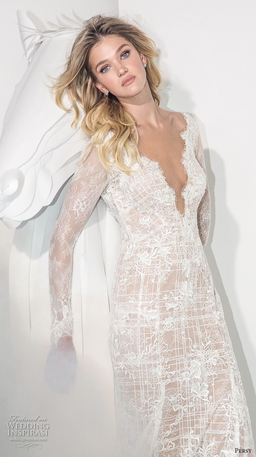 persy couture 2019 bridal long sleeves deep v neck full embellishment sexy elegant modified a  line wedding dress chapel train (4) zv