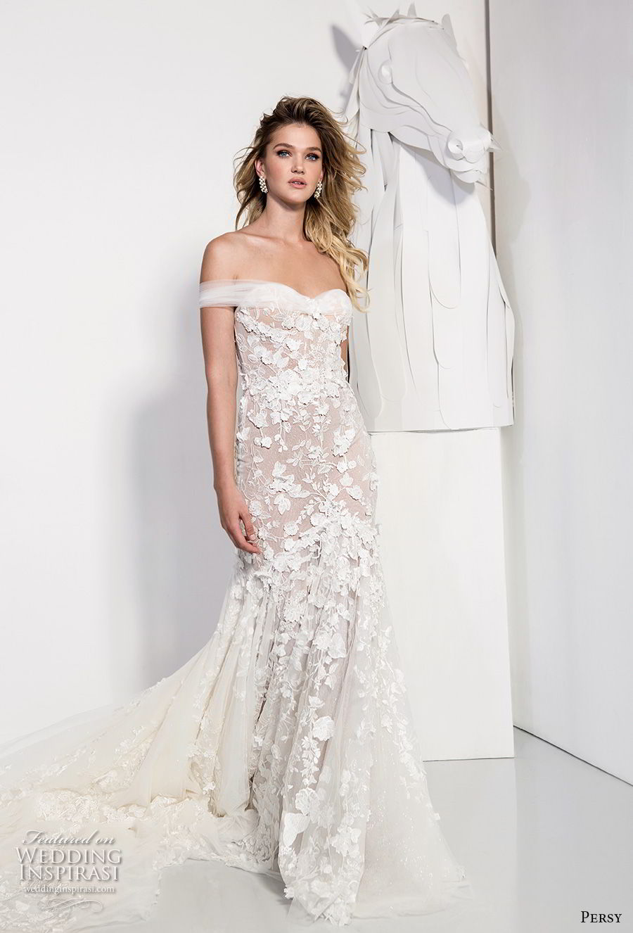 persy couture 2019 bridal off the shoulder sweetheart neckline full embellishment romantic fit and flare wedding dress chapel train (2) mv