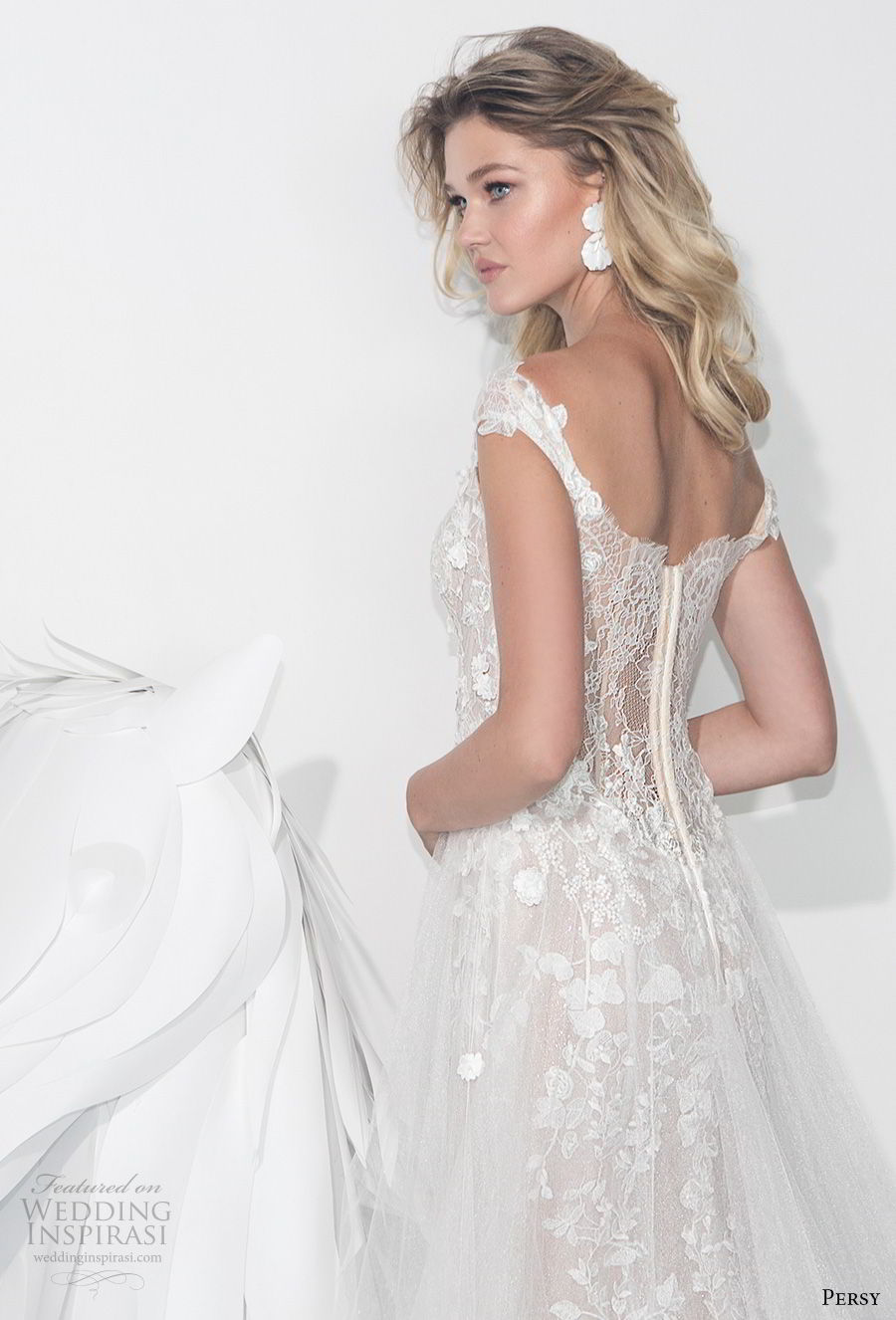persy couture 2019 bridal off the shoulder sweetheart neckline heavily embellished bodice bustier romantic soft a line wedding dress chapel train (5) zbv