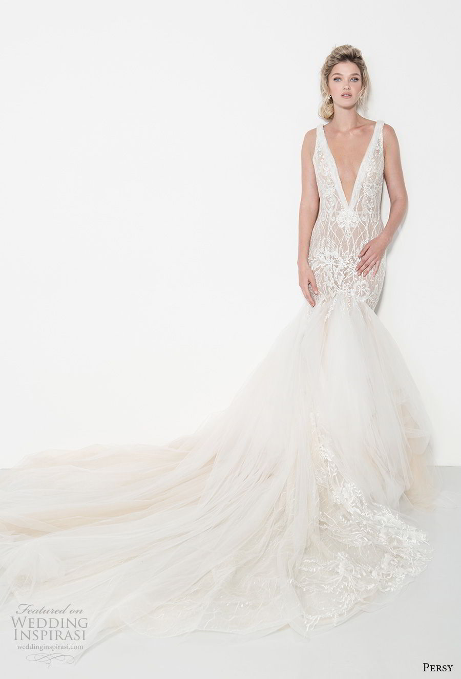 persy couture 2019 bridal sleeveless deep v neck full embellishment elegant sexy mermaid wedding dress open v back chapel train (6) mv