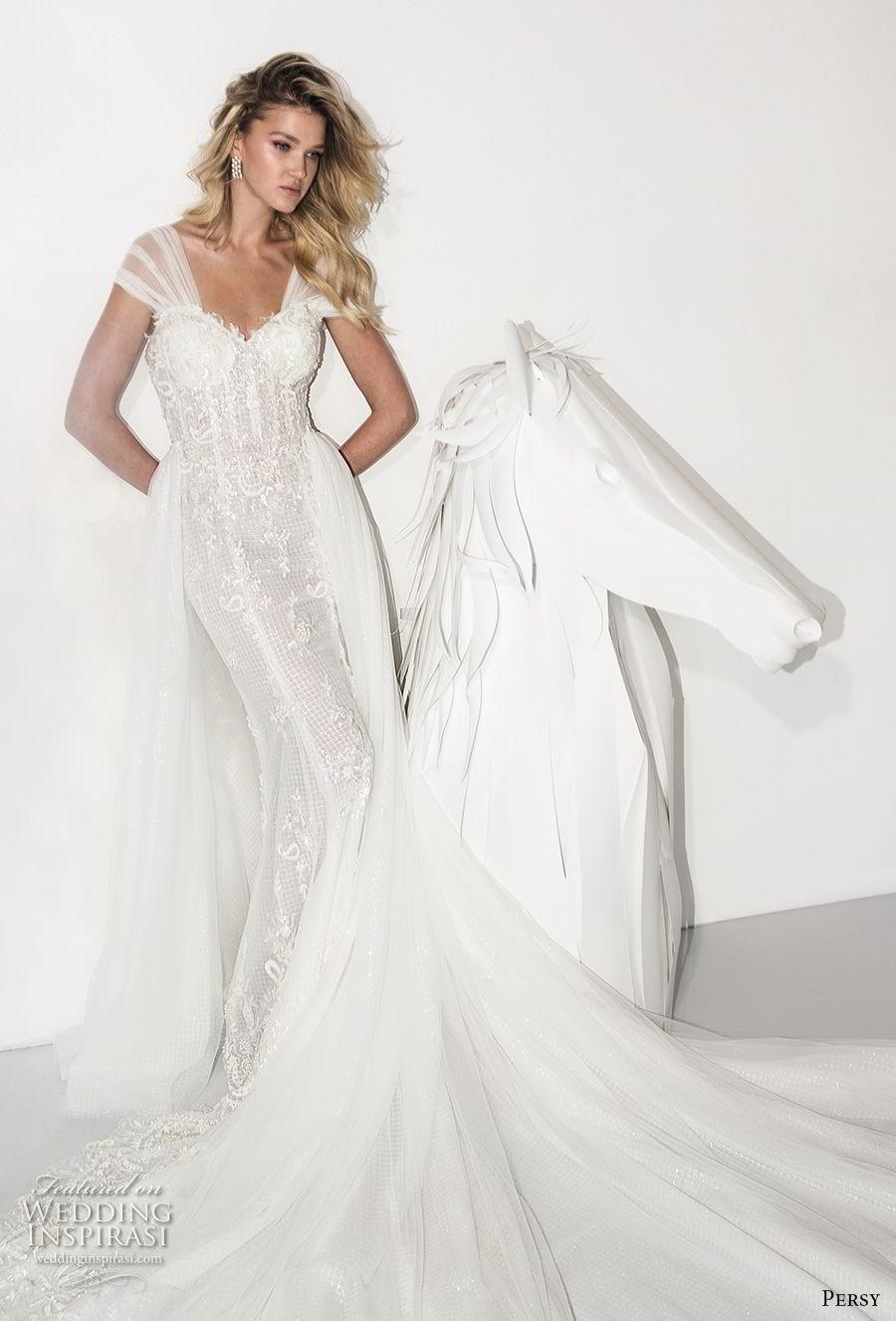 persy couture 2019 bridal thick strap sweetheart neckline full embellishment bustier elegant sheath wedding dress a  line overskirt chapel train (3) mv