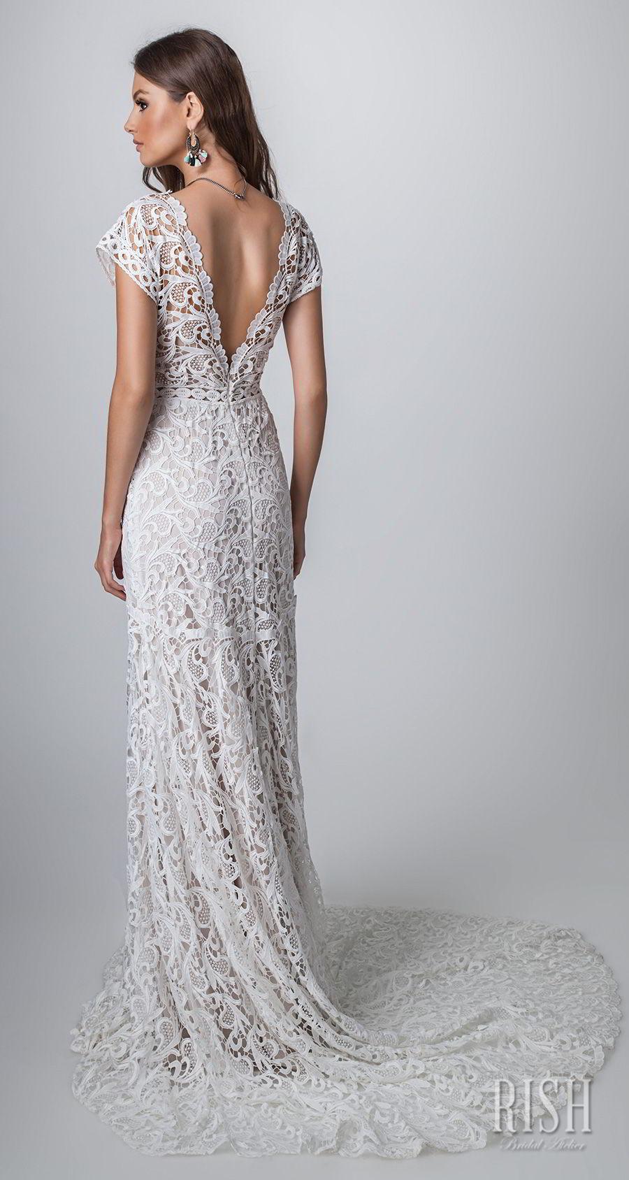 rish bridal sun dance 2018 cap sleeves v neck full embellishment romantic  bohemian modified a  line wedding dress v back short train (iris) bv