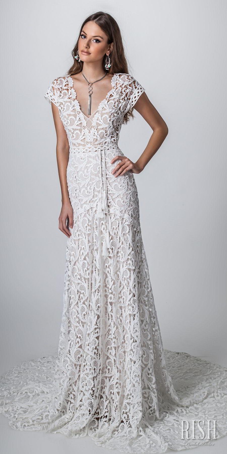 rish bridal sun dance 2018 cap sleeves v neck full embellishment romantic  bohemian modified a  line wedding dress v back short train (iris) mv