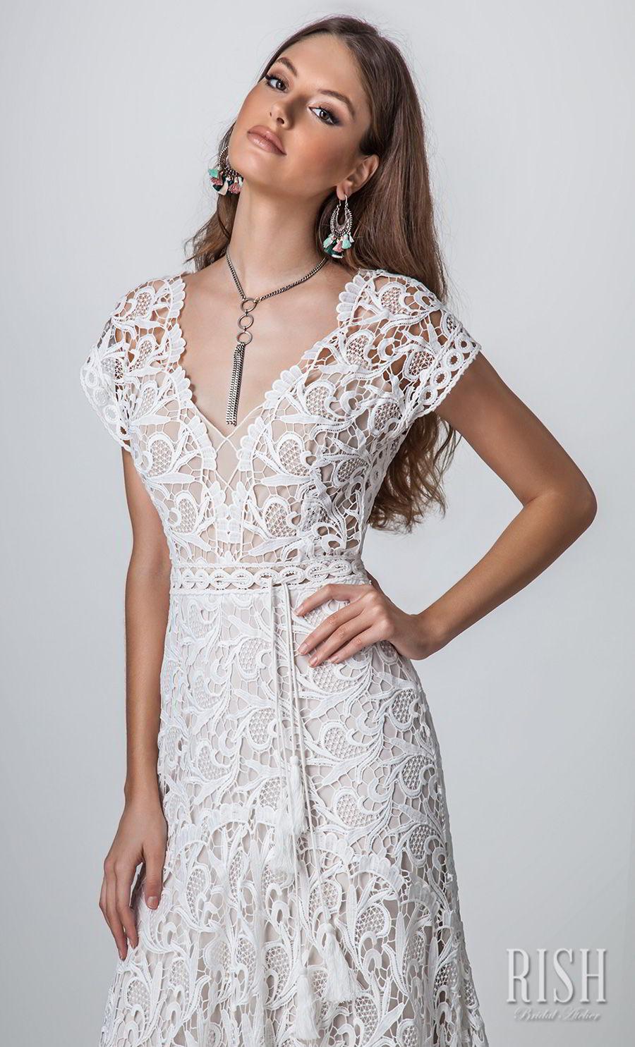 rish bridal sun dance 2018 cap sleeves v neck full embellishment romantic  bohemian modified a  line wedding dress v back short train (iris) zv