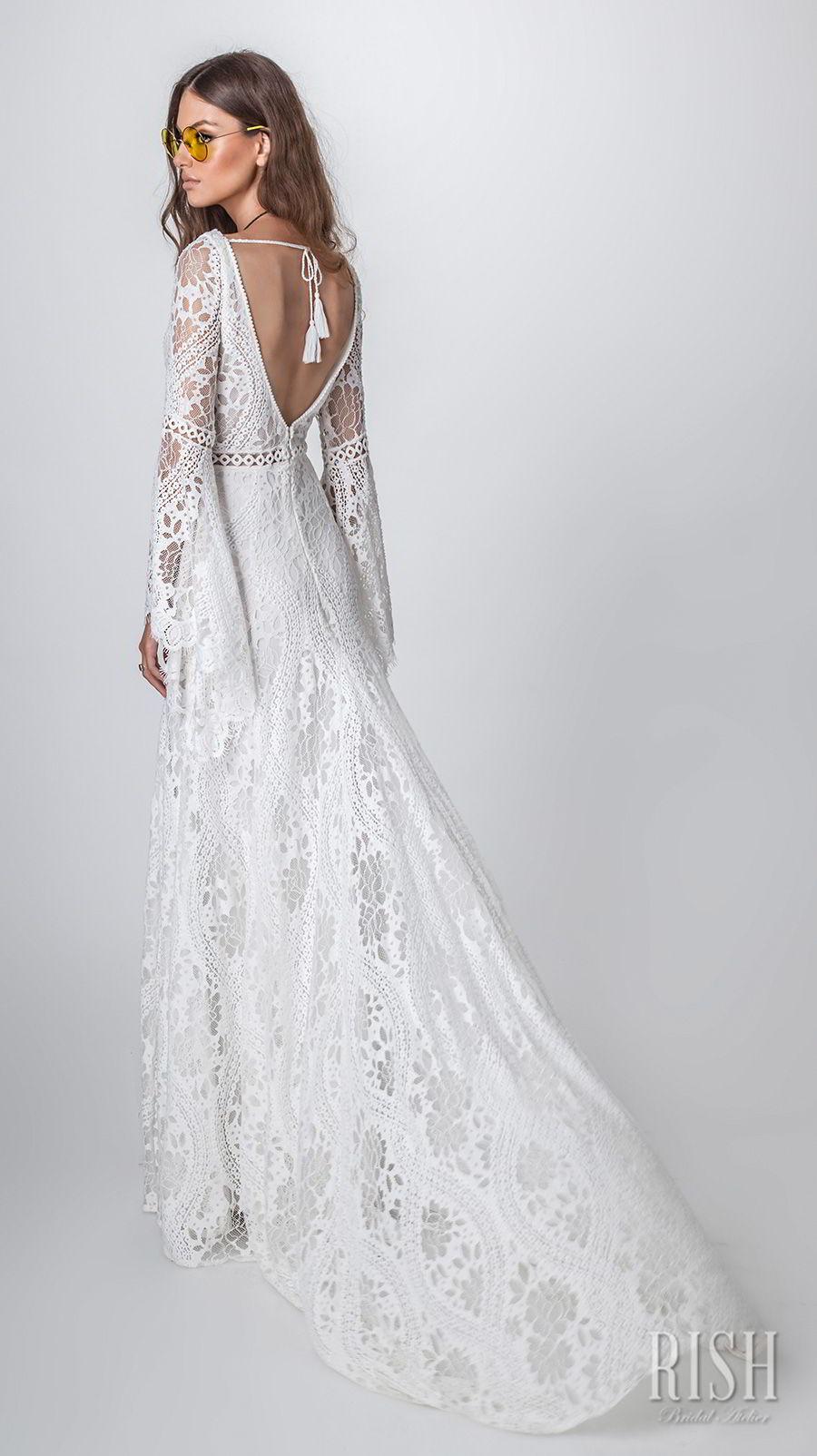 2d86adb376fa rish bridal sun dance 2018 long bell sleeves v neck full embellishment  bohemian modified a line