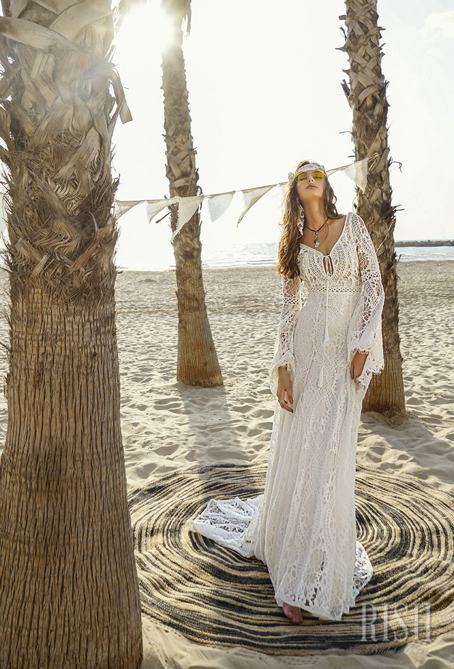 rish bridal sun dance 2018 long bell sleeves v neck full embellishment bohemian modified a  line wedding dress open v back short train (alma) mv