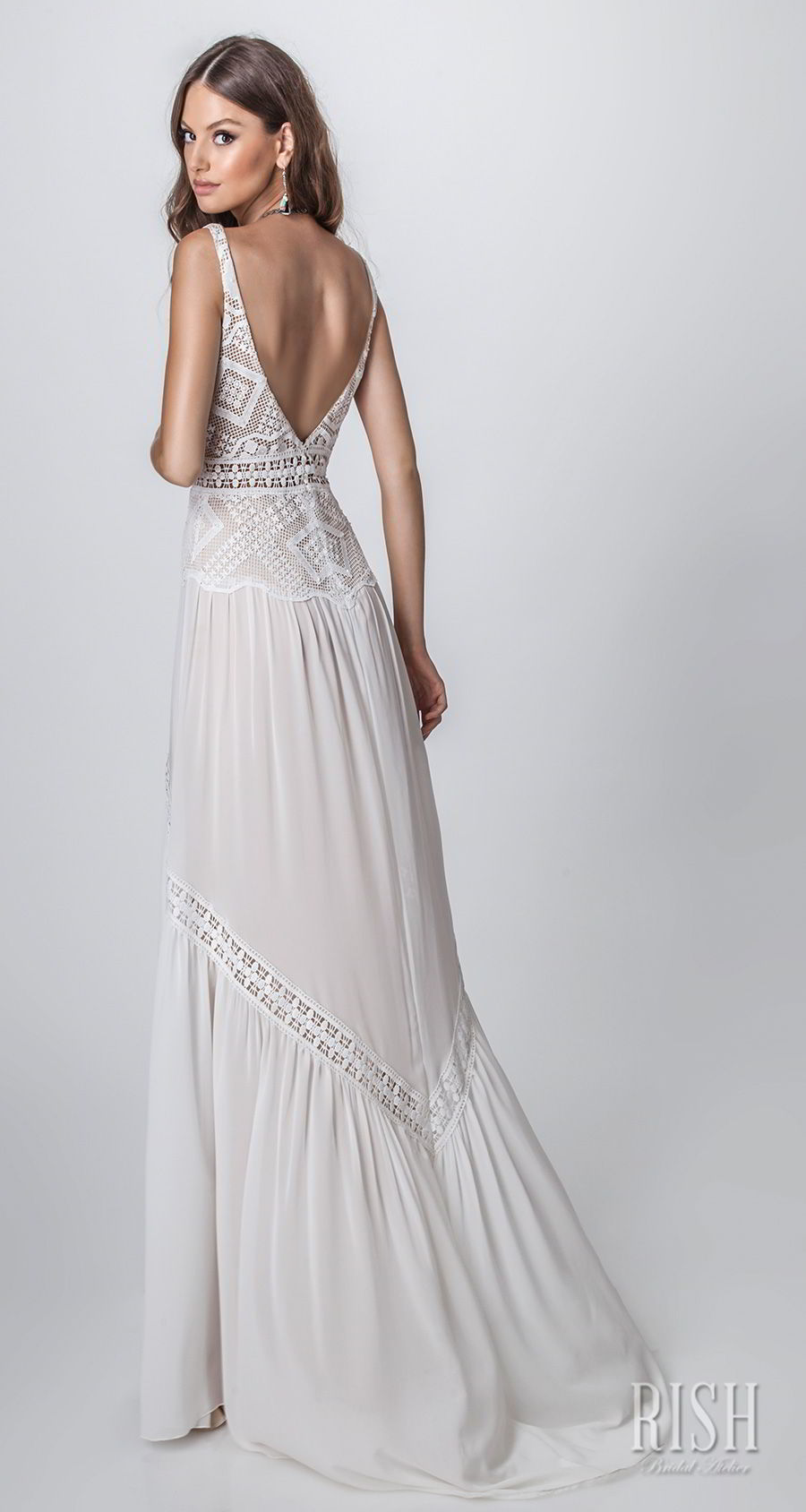 rish bridal sun dance 2018 sleeveless deep sweetheart neckline heavily embellished bodice bohemian soft a  line wedding dress open v back sweep train (layla) bv