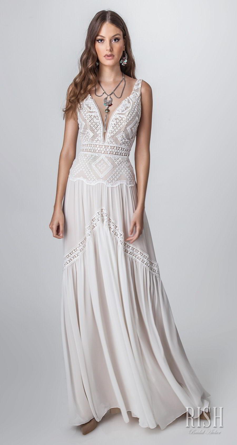 rish bridal sun dance 2018 sleeveless deep sweetheart neckline heavily embellished bodice bohemian soft a  line wedding dress open v back sweep train (layla) mv