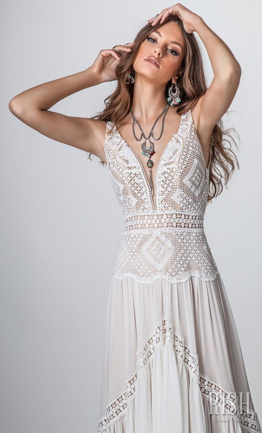 rish bridal sun dance 2018 sleeveless deep sweetheart neckline heavily embellished bodice bohemian soft a  line wedding dress open v back sweep train (layla) zv