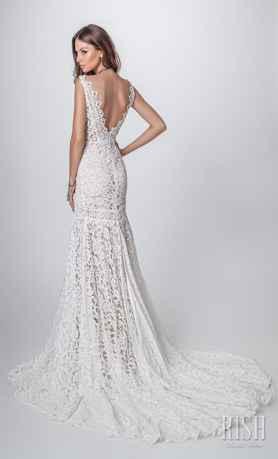rish bridal sun dance 2018 sleeveless deep v neck full embellishment elegant fit and flare wedding dress open v back chapel train (nina) bv