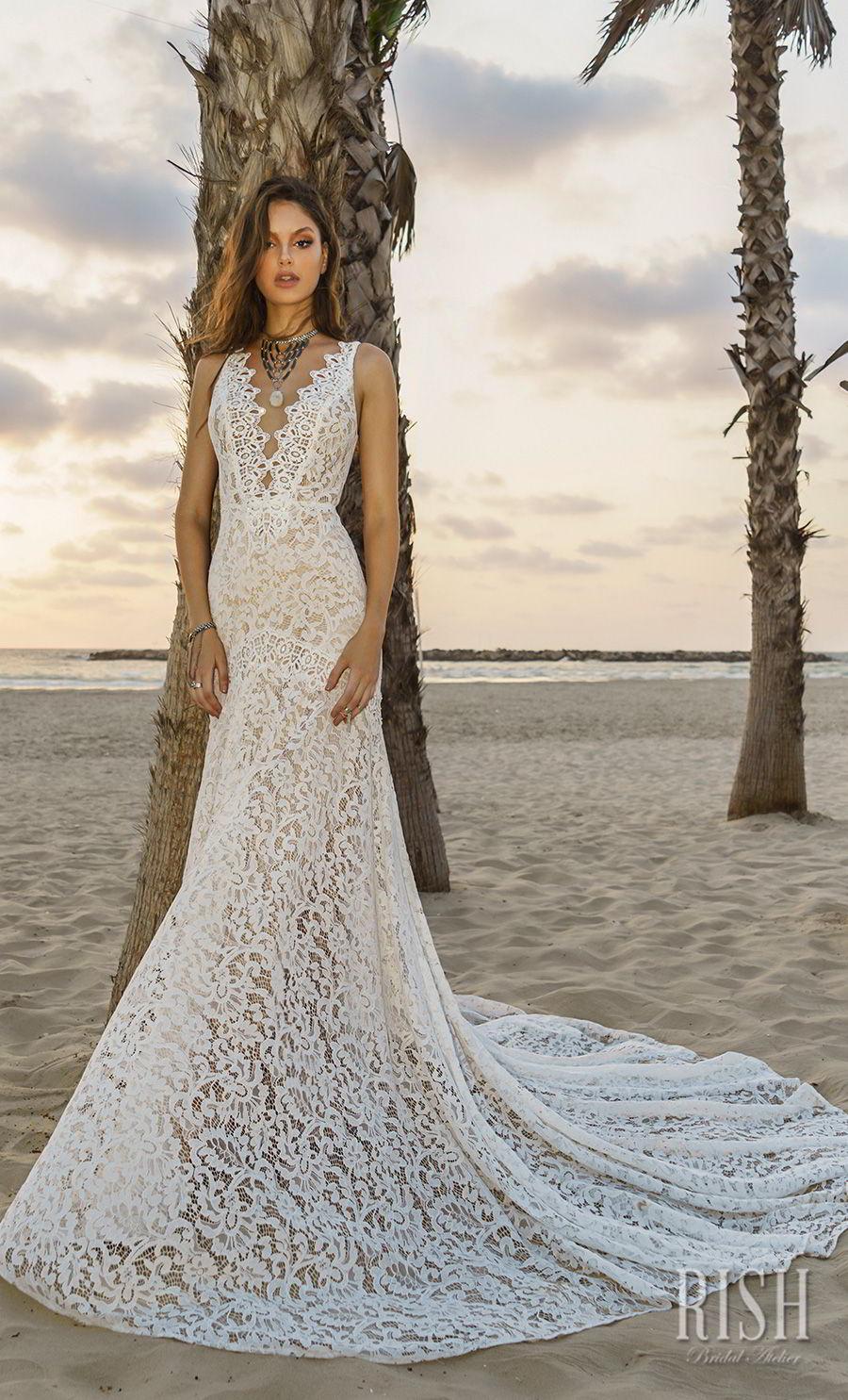 rish bridal sun dance 2018 sleeveless deep v neck full embellishment elegant fit and flare wedding dress open v back chapel train (nina) mv
