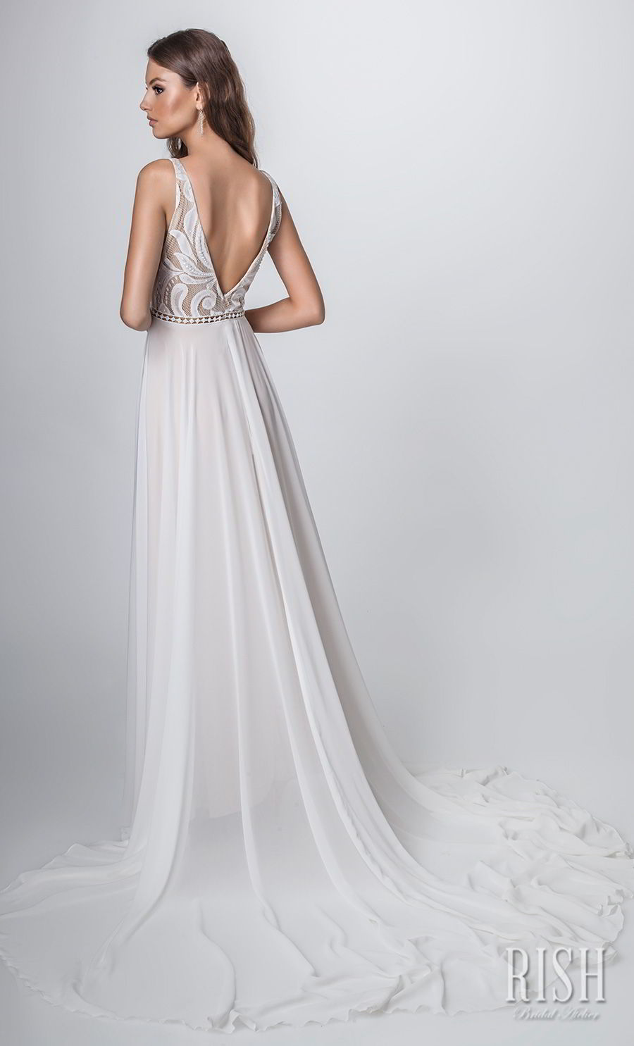 rish bridal sun dance 2018 sleeveless deep v neck heavily embellished bodice romantic glamorous soft a  line wedding dress v back chapel train (venice) bv