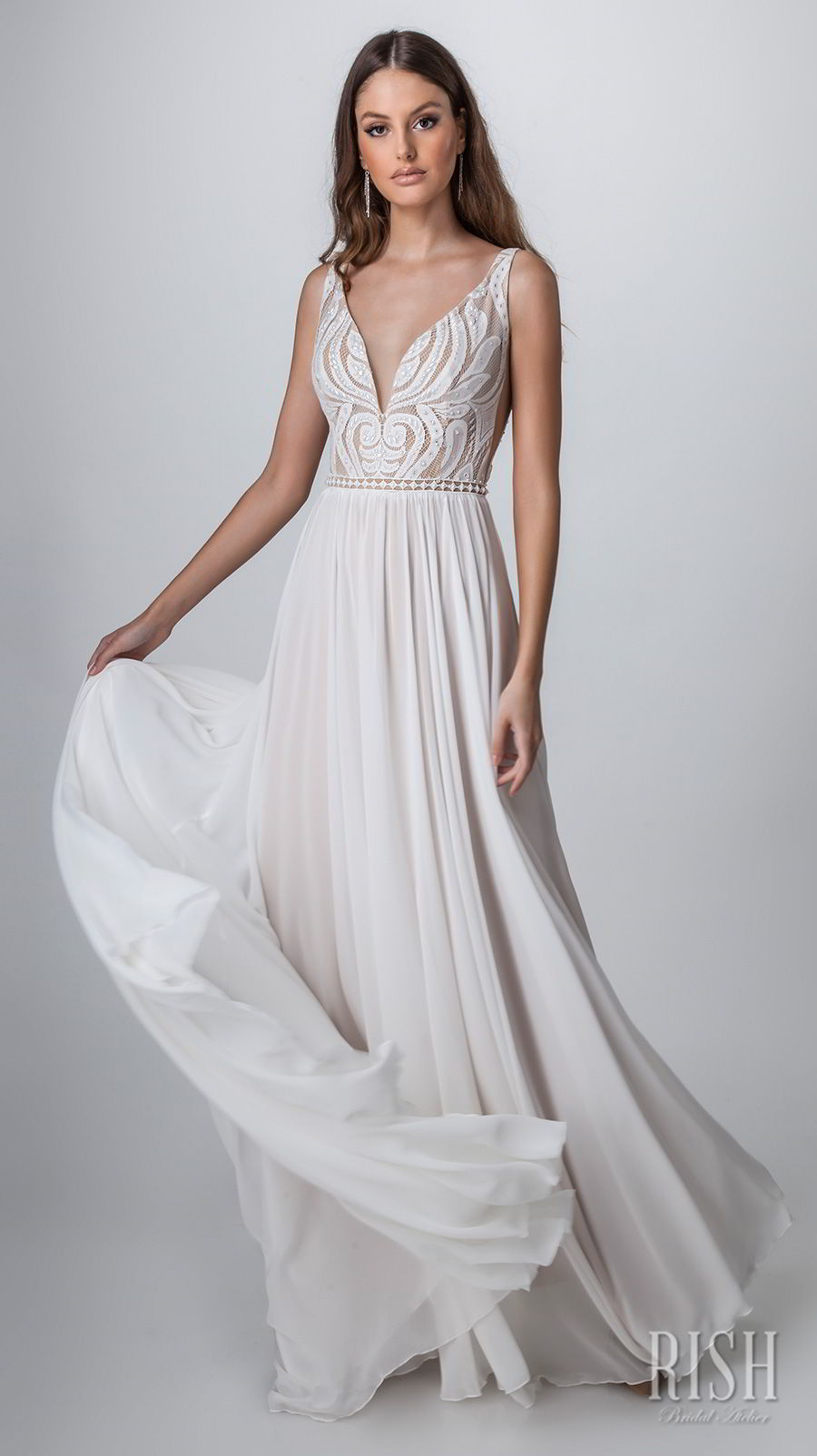 rish bridal sun dance 2018 sleeveless deep v neck heavily embellished bodice romantic glamorous soft a  line wedding dress v back chapel train (venice) mv