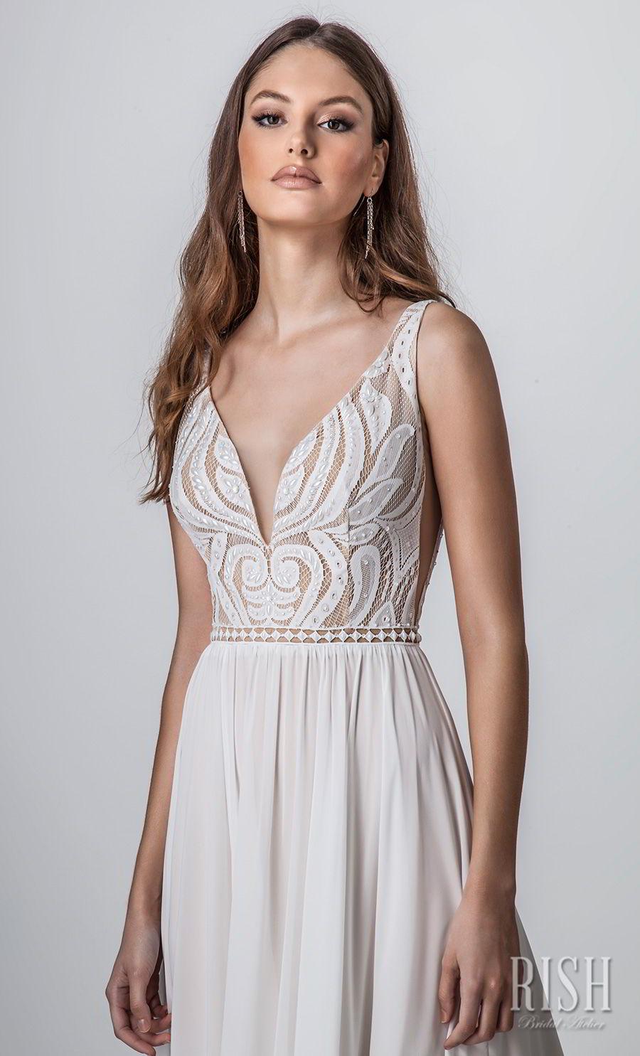 rish bridal sun dance 2018 sleeveless deep v neck heavily embellished bodice romantic glamorous soft a  line wedding dress v back chapel train (venice) zv