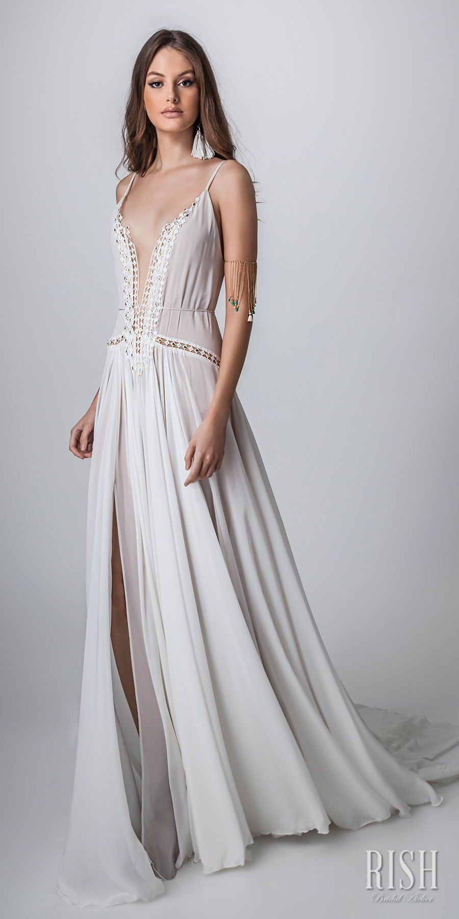 rish bridal sun dance 2018 sleeveless spaghetti strap deep plunging v neck lightly embellished bodice sexy bohemian soft a  line wedding dress open v back chapel train (helena) mv