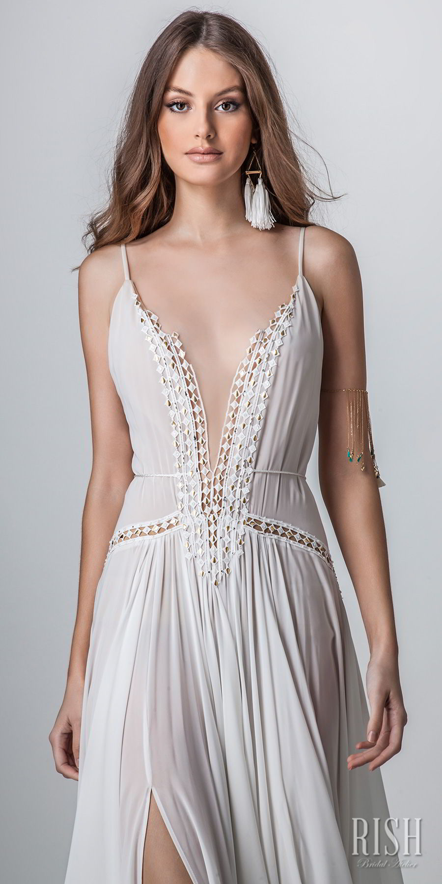 rish bridal sun dance 2018 sleeveless spaghetti strap deep plunging v neck lightly embellished bodice sexy bohemian soft a  line wedding dress open v back chapel train (helena) zv