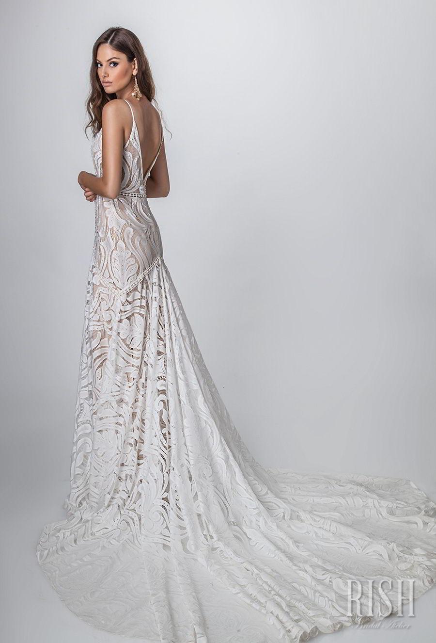 Rish Bridal Sun Dance 2018 Sleeveless Spaghetti Strap Deep Sweetheart Neckline Full Embellishment Bohemian Glamorous Sheath