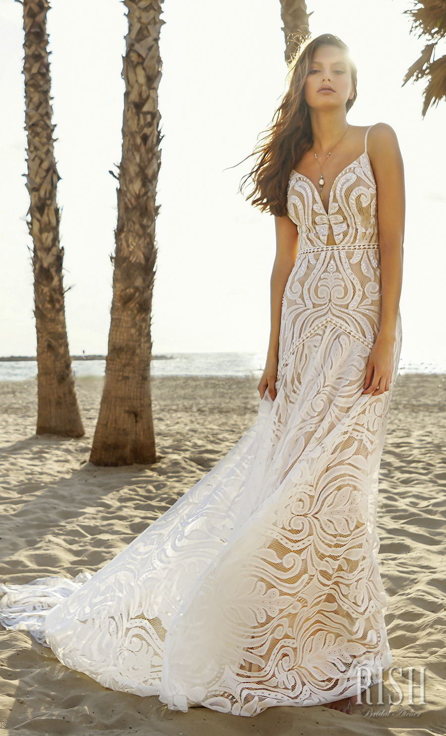rish bridal sun dance 2018 sleeveless spaghetti strap deep sweetheart neckline full embellishment bohemian glamorous sheath fit and flare wedding dress v back chapel train (victoria) mv
