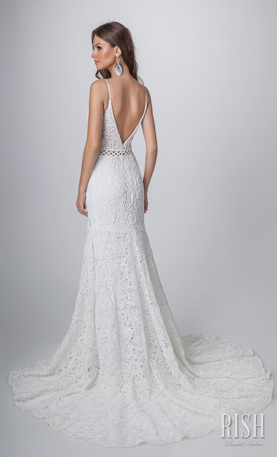 rish bridal sun dance 2018 sleeveless spaghetti strap deep sweetheart neckline full embellishment romantic modified a  line wedding dress open v back chapel train (sophia) bv