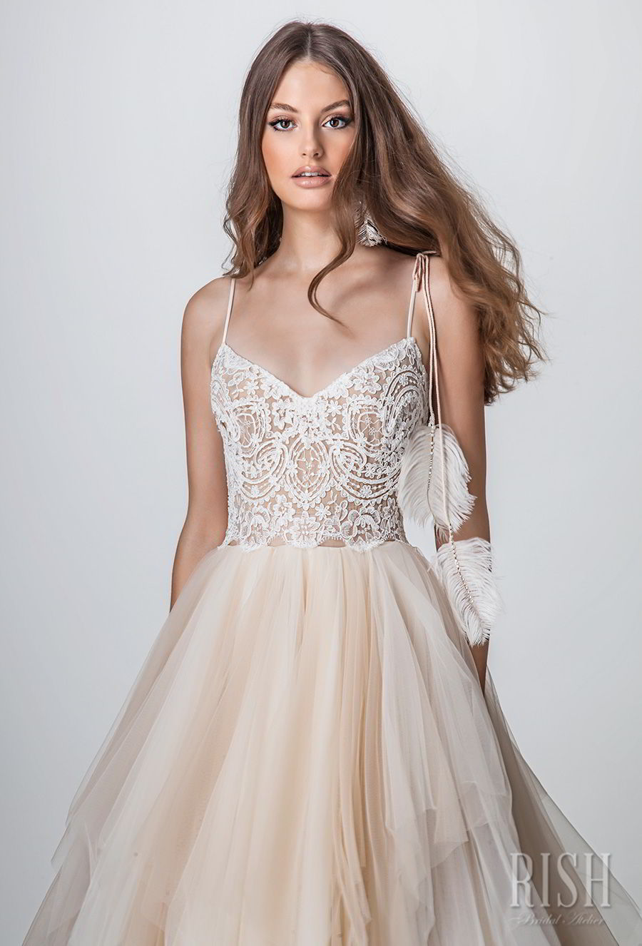 rish bridal sun dance 2018 sleeveless spaghetti strap diamond neck heavily embellished bodice bodice layered skirt romantic ivory a  line wedding dress v back sweep train (scarlette) zv