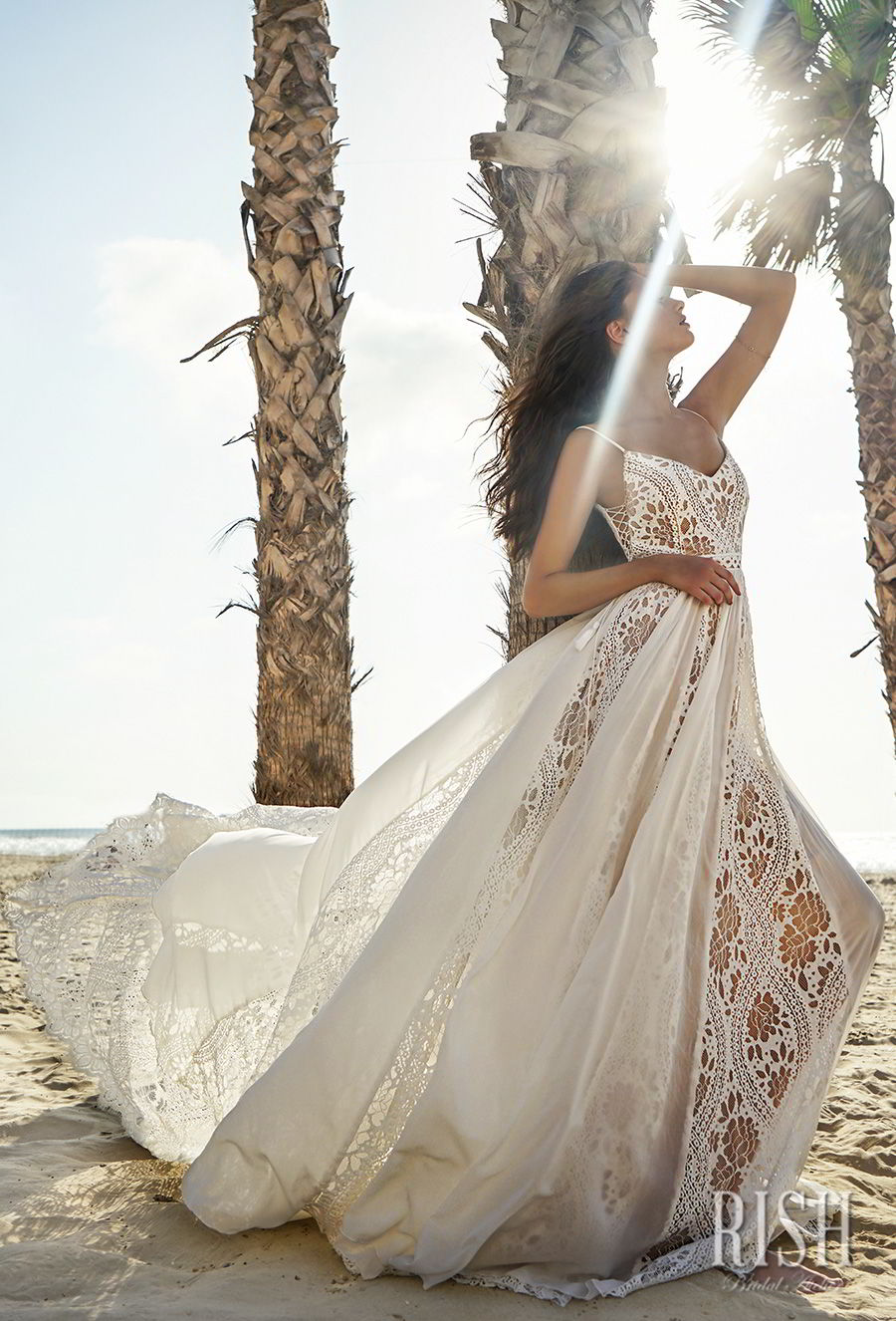 rish bridal sun dance 2018 sleeveless spaghetti strap sweetheart neckline full embellishment romantic bohemian soft a  line wedding dress open v back chapel train (sierra) mv