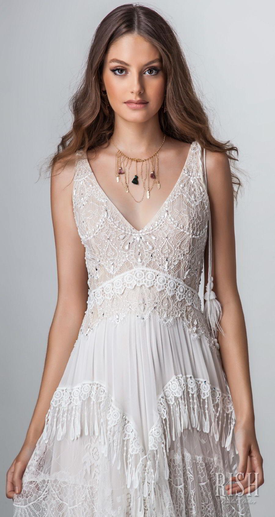 rish bridal sun dance 2018 sleeveless v neck full embellishment romantic bohemian glamorous sheath wedding dress open v back chapel train (renee) zv
