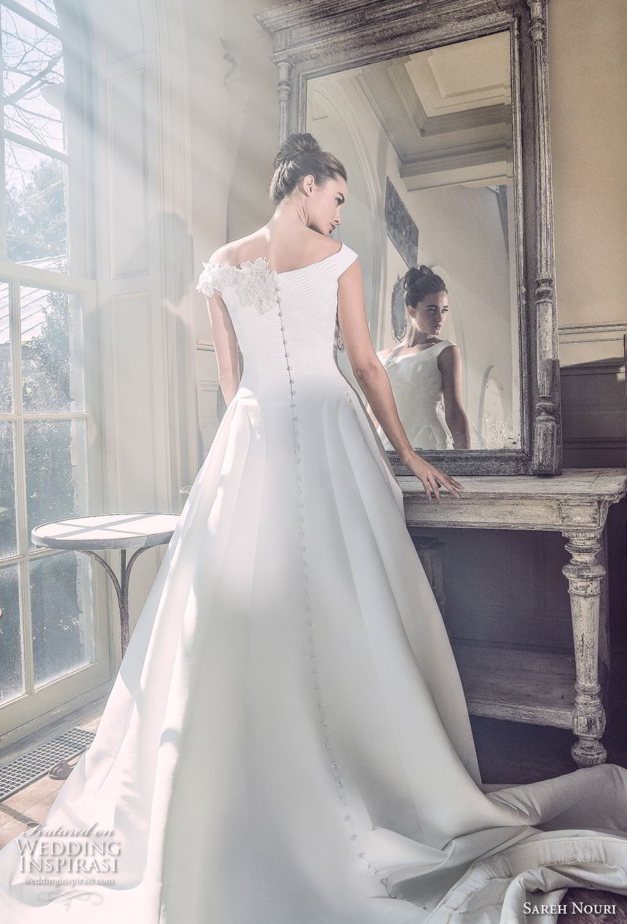 sareh nouri spring 2019 bridal cap sleeves bateau neck simple clean princess romantic ball gown a  line wedding dress chapel train (12) bv