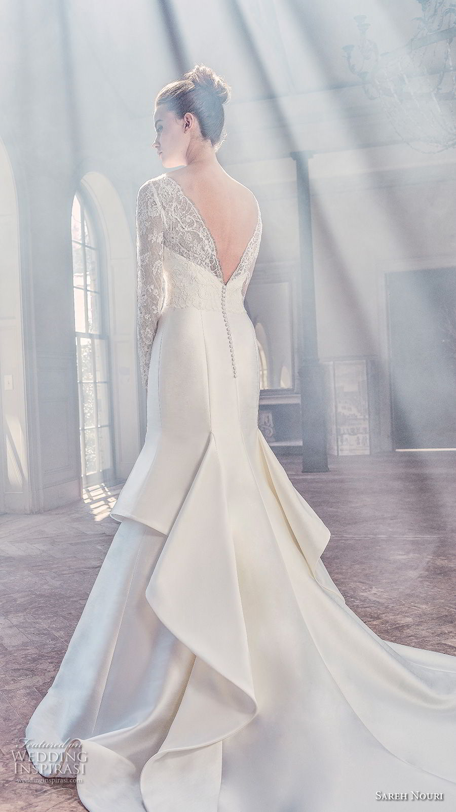 sareh nouri spring 2019 bridal long sleeves illusion bateau semi sweetheart neckline heavily embellised bodice mermaid wedding dress v back chapel train (6) bv