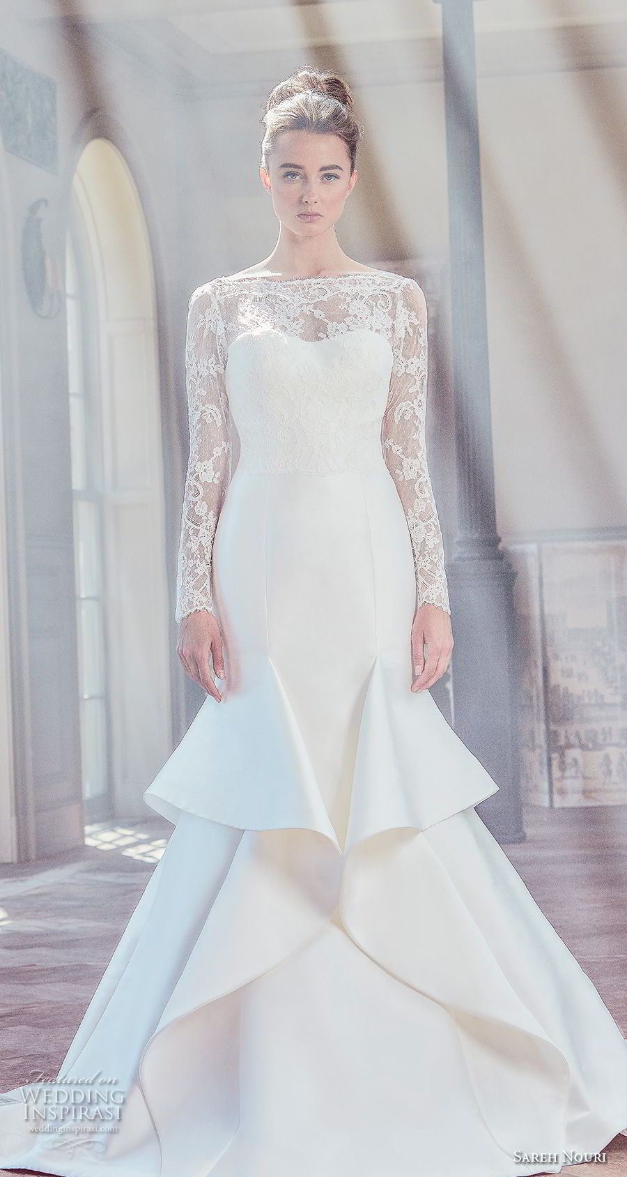 sareh nouri spring 2019 bridal long sleeves illusion bateau semi sweetheart neckline heavily embellised bodice mermaid wedding dress v back chapel train (6) mv