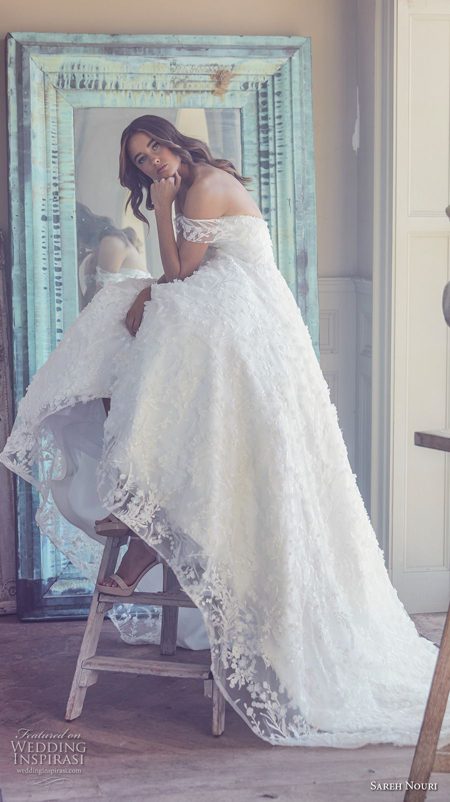 sareh nouri spring 2019 bridal offf the shoulder sweetheart neckline full embellishment romantic a  line wedding dress chapel train (1) mv