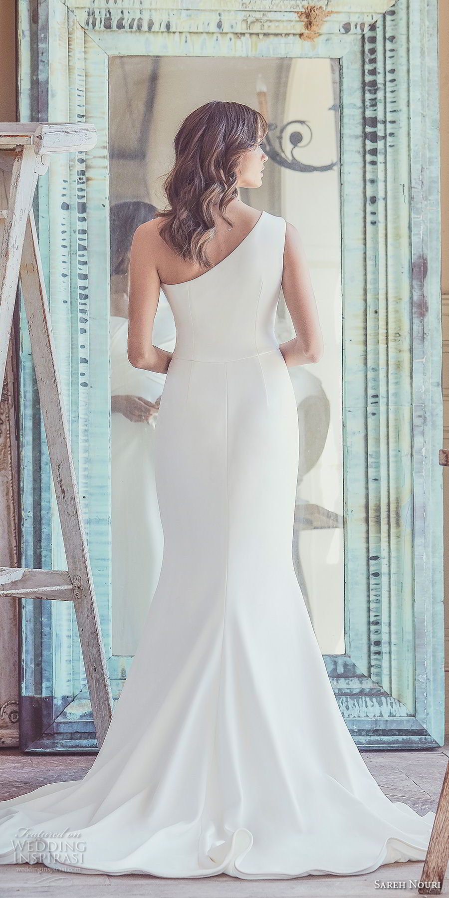 sareh nouri spring 2019 bridal sleeveless one shoulder wrap over bodice simple clean elegant modern fit and flare wedding dress chapel train (9) bv