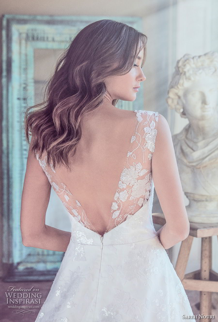 sareh nouri spring 2019 bridal sleeveless sheer lace thick strap sweetheart neckline full embellishment romantic a  line wedding dress v back long train (10) bv