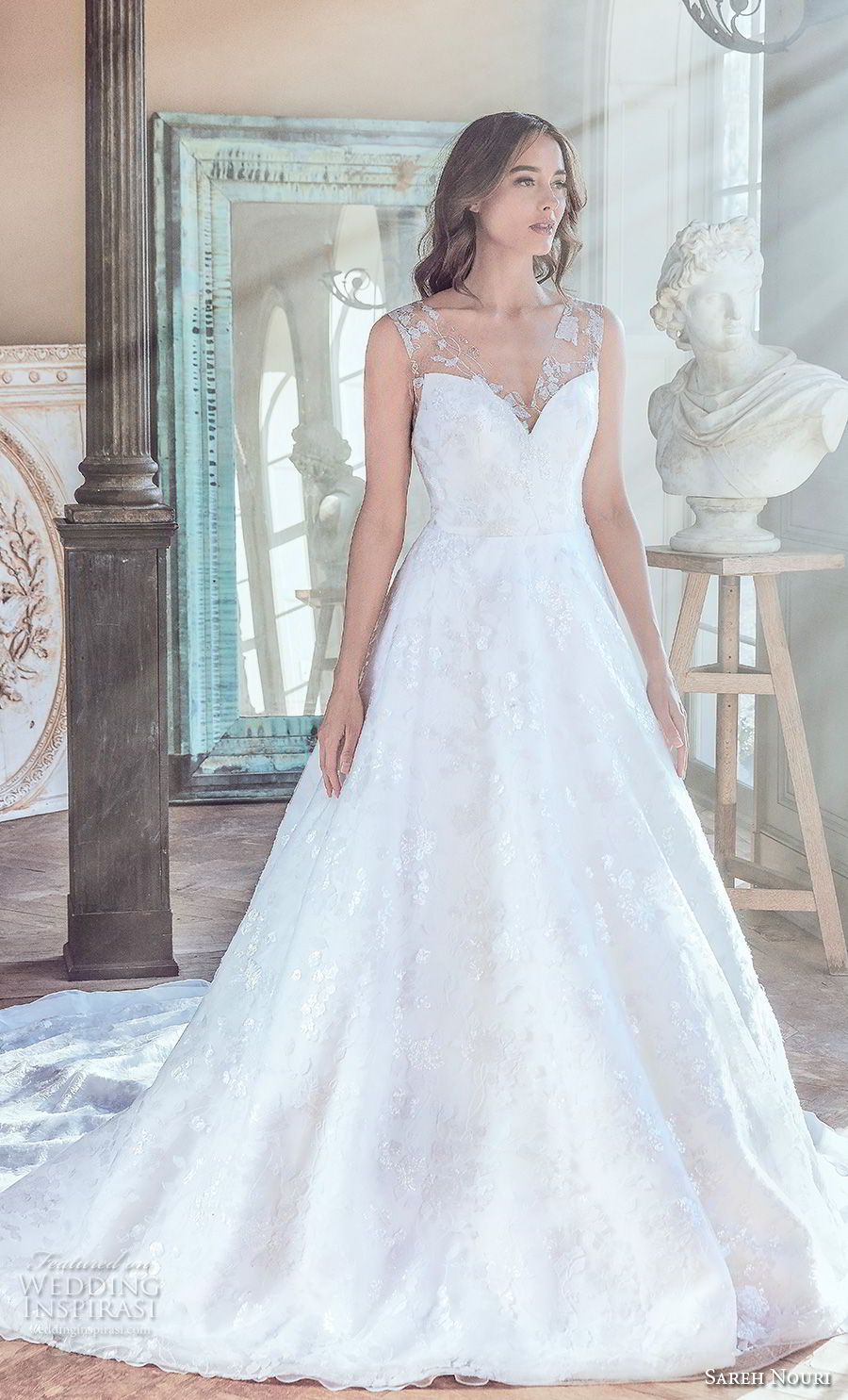 sareh nouri spring 2019 bridal sleeveless sheer lace thick strap sweetheart neckline full embellishment romantic a  line wedding dress v back long train (10) mv