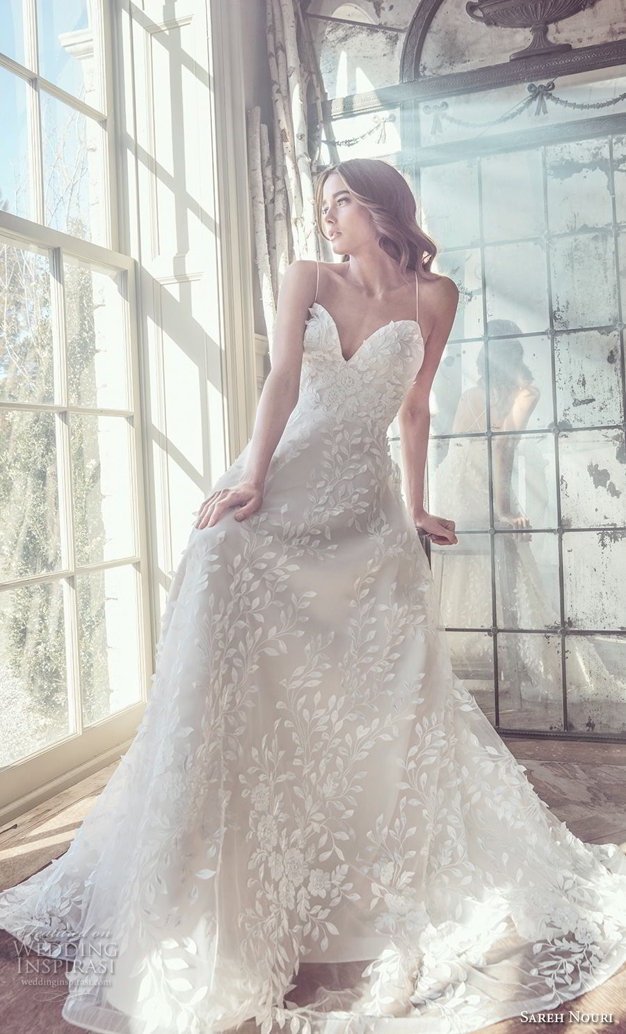 sareh nouri spring 2019 bridal sleeveless spaghetti strap sweetheart neckline full embellishment romantic a  line wedding dress cross strap back chapel train (8) mv