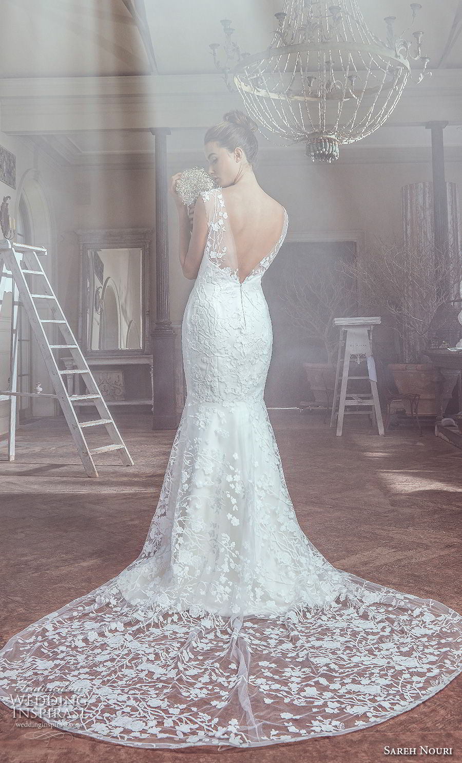 sareh nouri spring 2019 bridal sleeveless thick sheer strap sweetheart neckline full embellishment elegant mermaid wedding dress open v back chapel train (3) bv