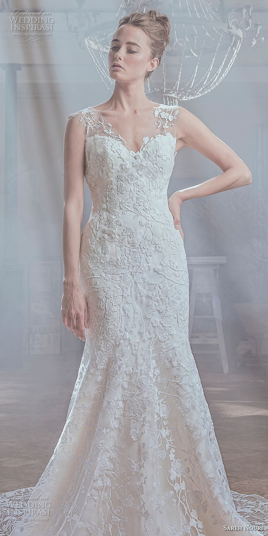 sareh nouri spring 2019 bridal sleeveless thick sheer strap sweetheart neckline full embellishment elegant mermaid wedding dress open v back chapel train (3) lv
