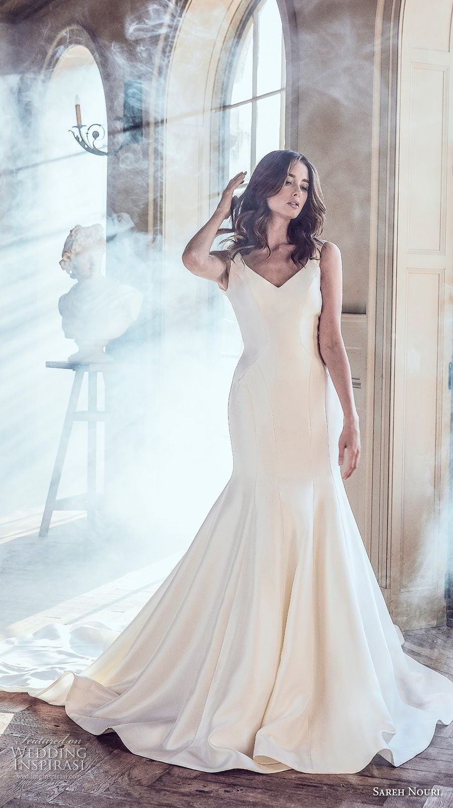 sareh nouri spring 2019 bridal sleeveless thick strap v neck simple clean elegant mermaid wedding dress v back chapel train (5) mv