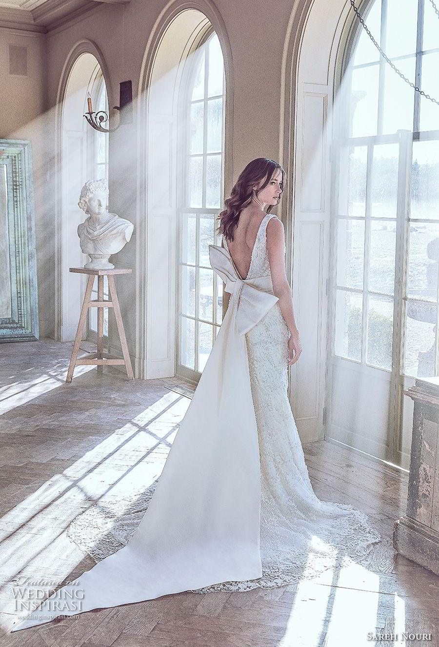 sareh nouri spring 2019 bridal sleeveless with strap deep v neck full embellishment elegant romantic fit and flare wedding dress v back ribbon chapel train (11) bv