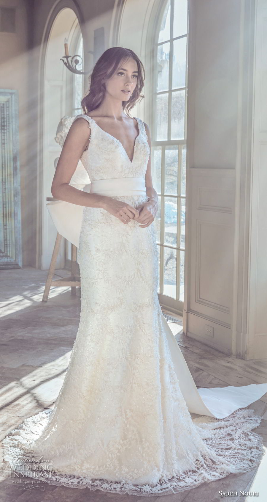 sareh nouri spring 2019 bridal sleeveless with strap deep v neck full embellishment elegant romantic fit and flare wedding dress v back ribbon chapel train (11) mv