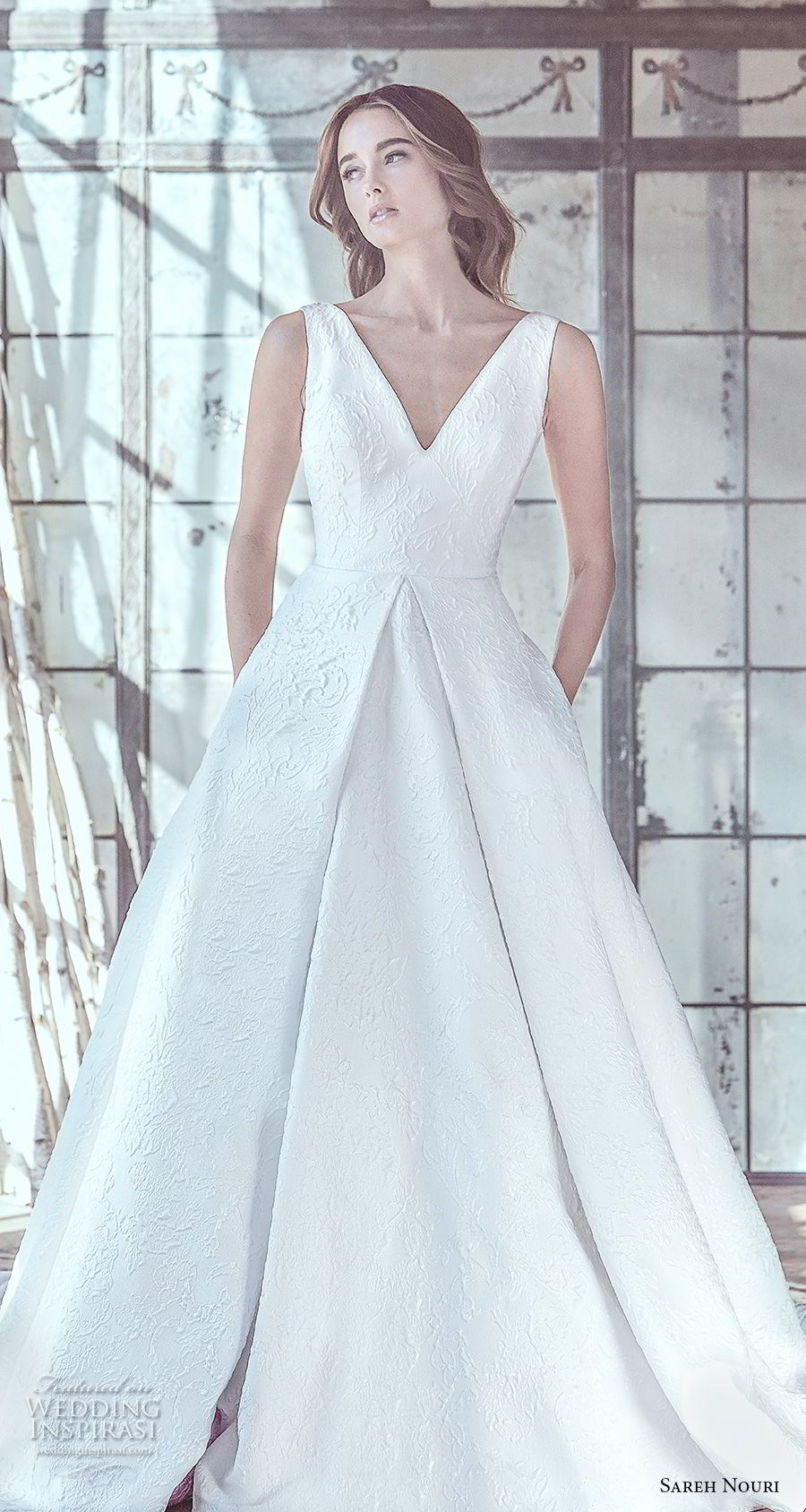 sareh nouri spring 2019 bridal sleevelss v neck light embellishment elegant romantic a  line wedding dress open v back chapel train (2) mv