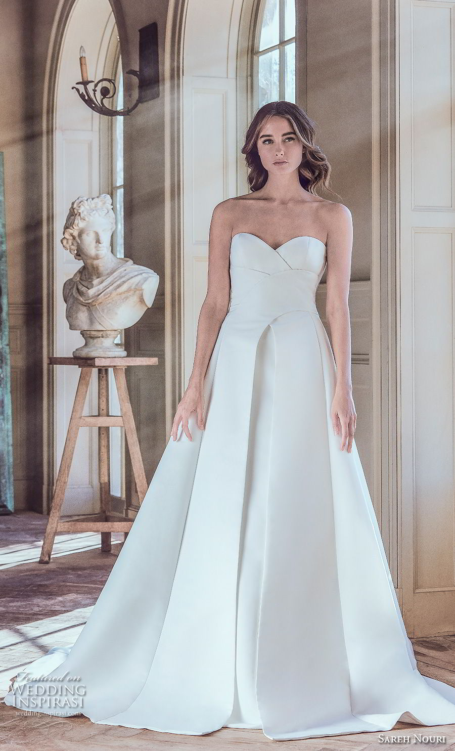 sareh nouri spring 2019 bridal strapless sweetheart neckline simple clean elegant modern a  line wedding dress chapel train (7) mv