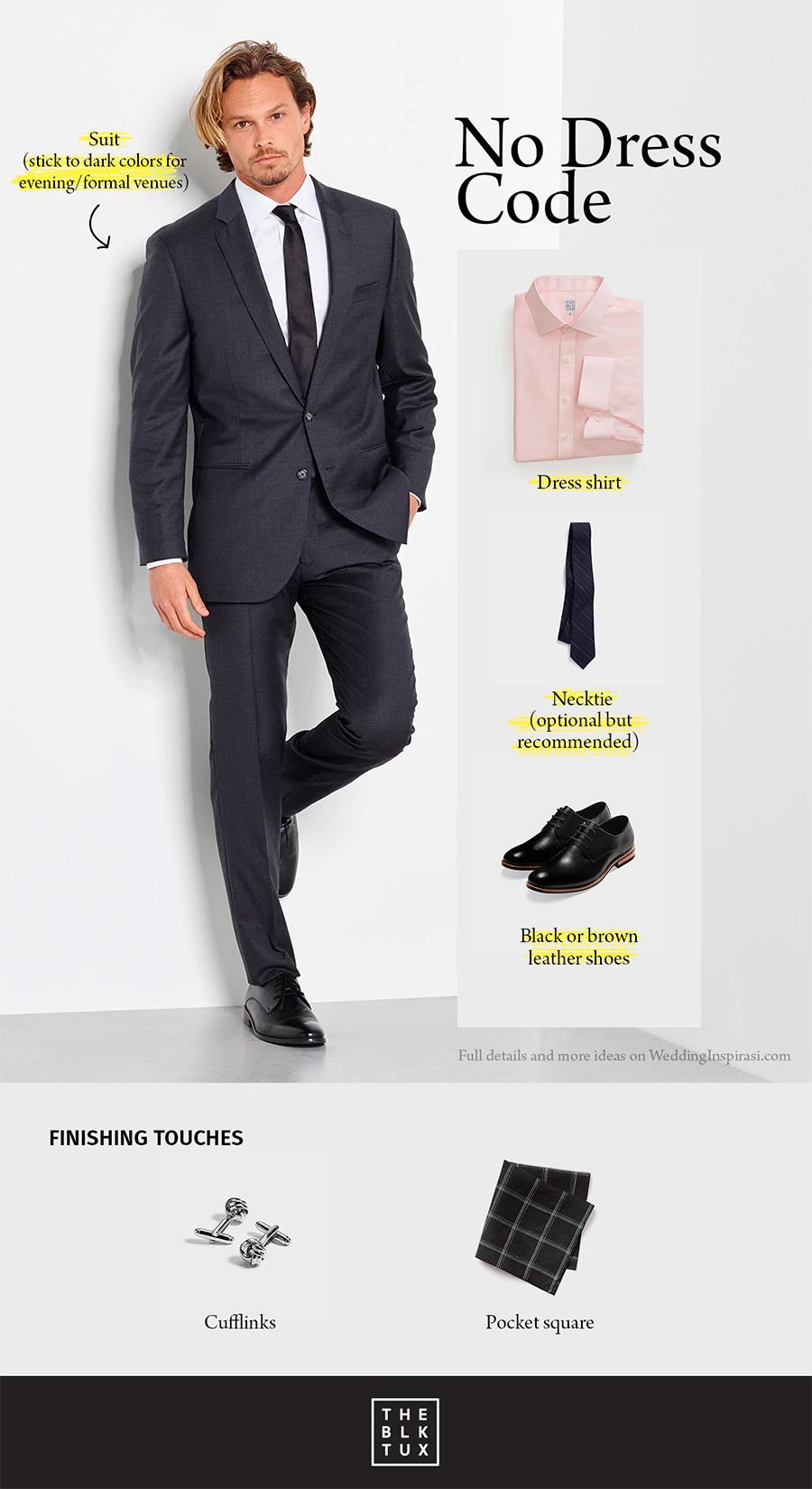Black Suit Blue Shirt No Tie