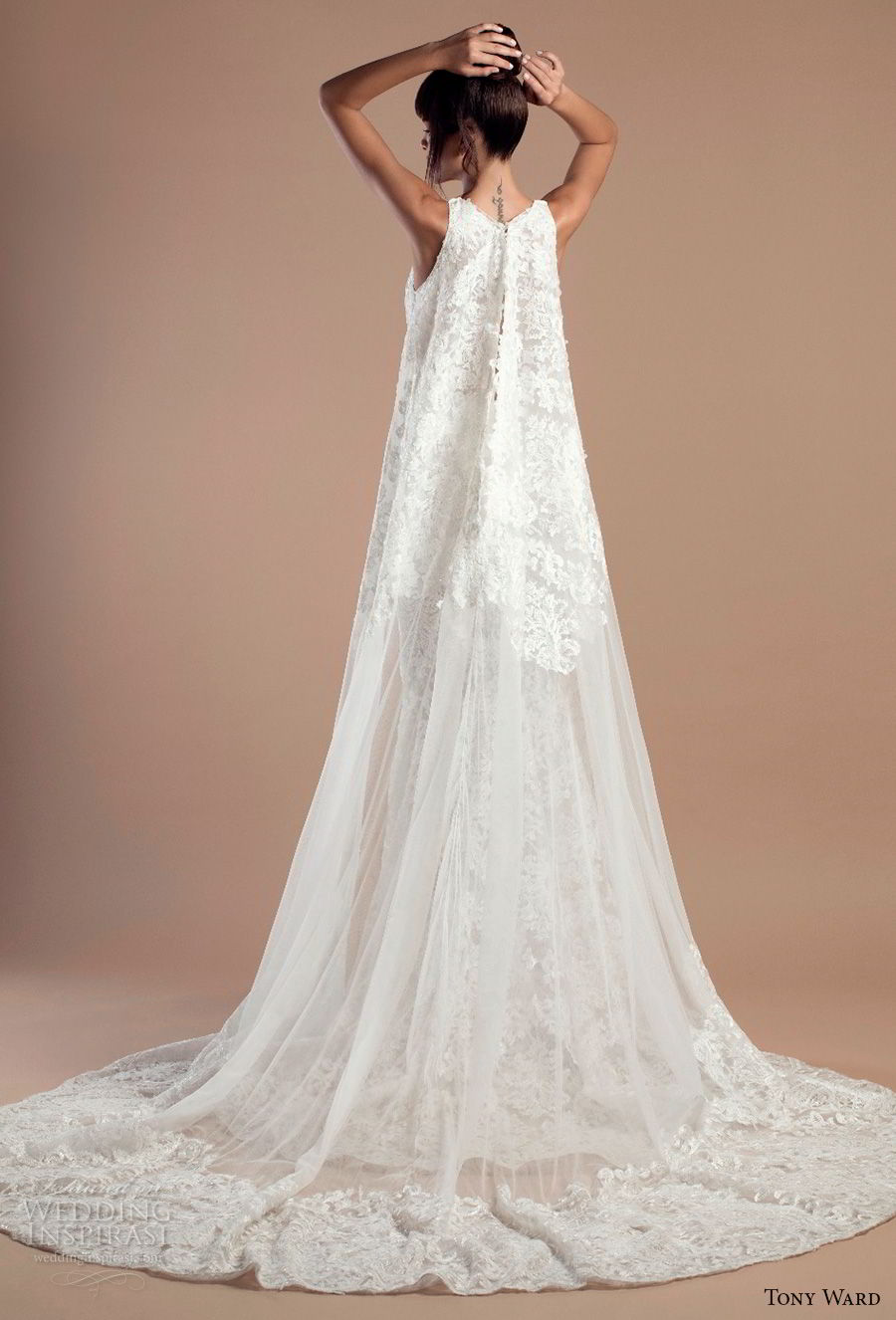 Tony ward 2018 wedding dresses wedding inspirasi for Wedding dress with cape train