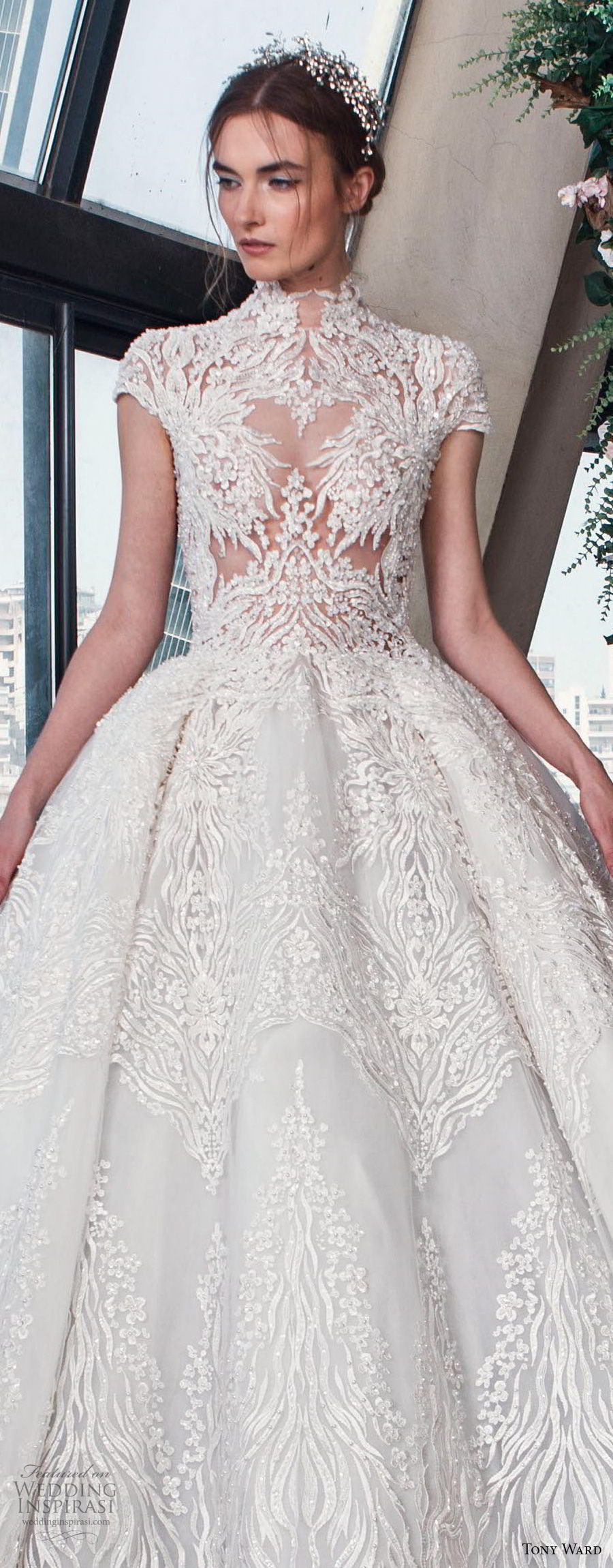 tony ward mariee 2019 cap sleeves high neck full embellishment romantic princess ball gown a  line wedding dress chapel train (10) zv