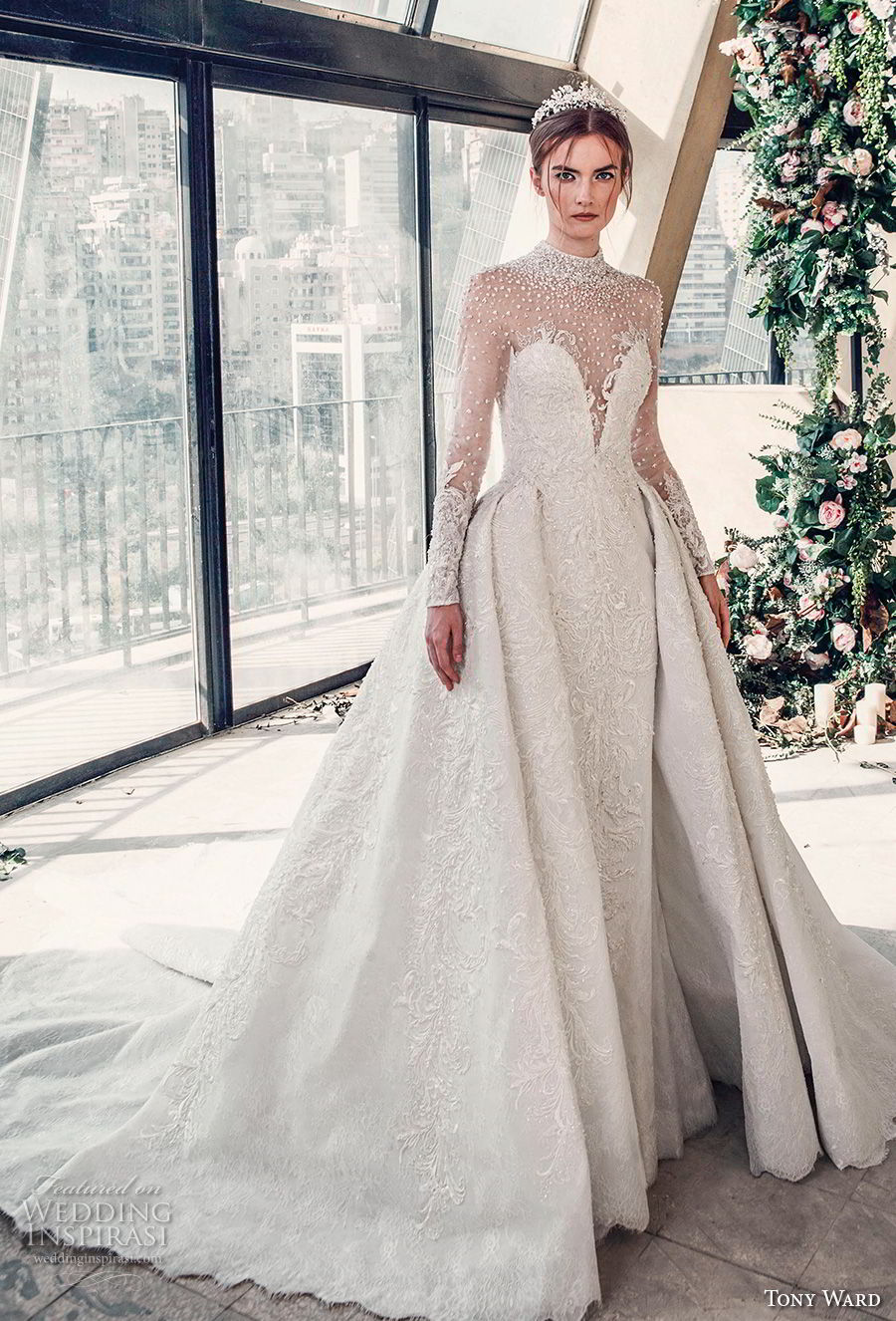 tony ward mariee 2019 long sleeves illusion high neck deep sweetheart neckline full embellishment princess ball gown a  line wedding dress chapel train (3) mv