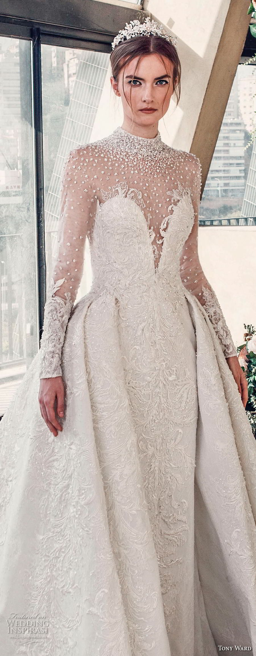 tony ward mariee 2019 long sleeves illusion high neck deep sweetheart neckline full embellishment princess ball gown a  line wedding dress chapel train (3) zv