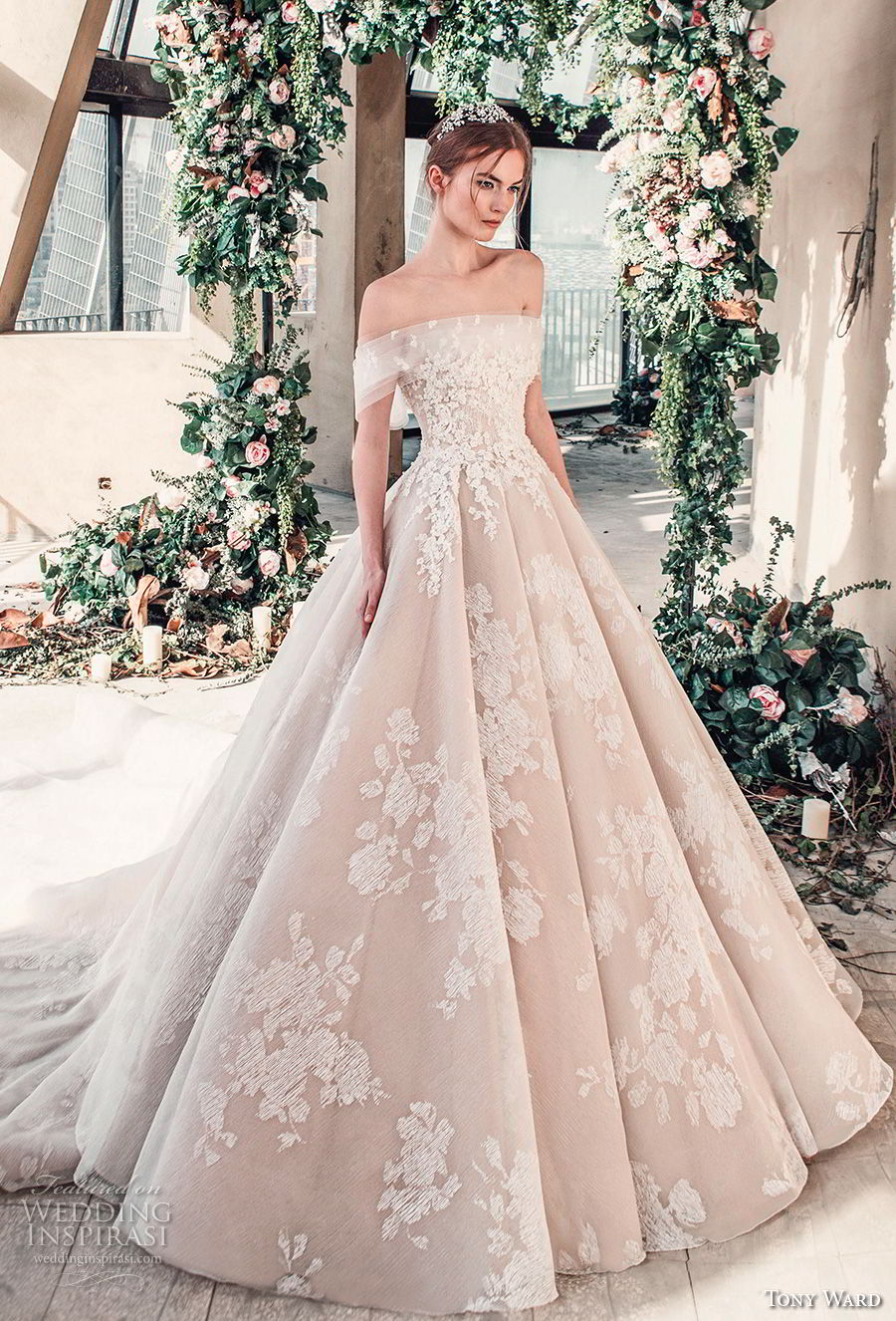 tony ward mariee 2019 off the shoulder straight across neckline full embellishment romantic princess blush ball gown a  line wedding dress royal train (1) mv