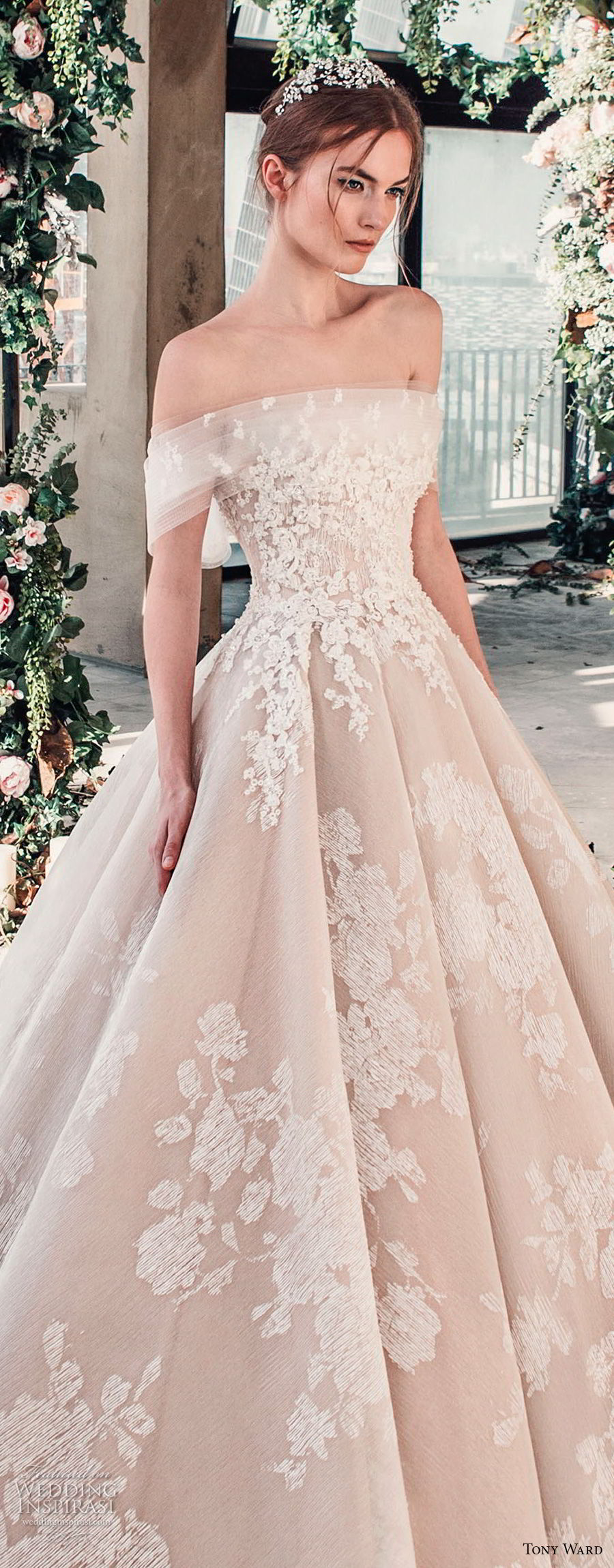 tony ward mariee 2019 off the shoulder straight across neckline full embellishment romantic princess blush ball gown a  line wedding dress royal train (1) zv